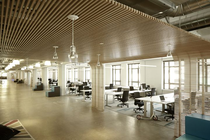 Lines Of Light Wood Ceiling Adorns With Unique Hanging Lamps Give A Different Scene In Your Office