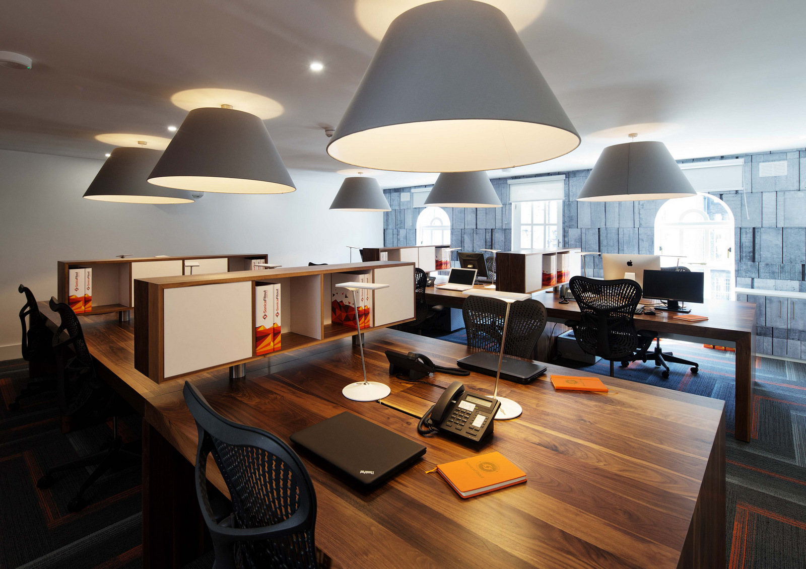 open office ceiling decoration idea. Dark Wood Perfectly Balances Out The Industrial Details And Furniture. Choosing Right Kind Of Lamp, It Can Also Work As Room Decoration. Open Office Ceiling Decoration Idea E