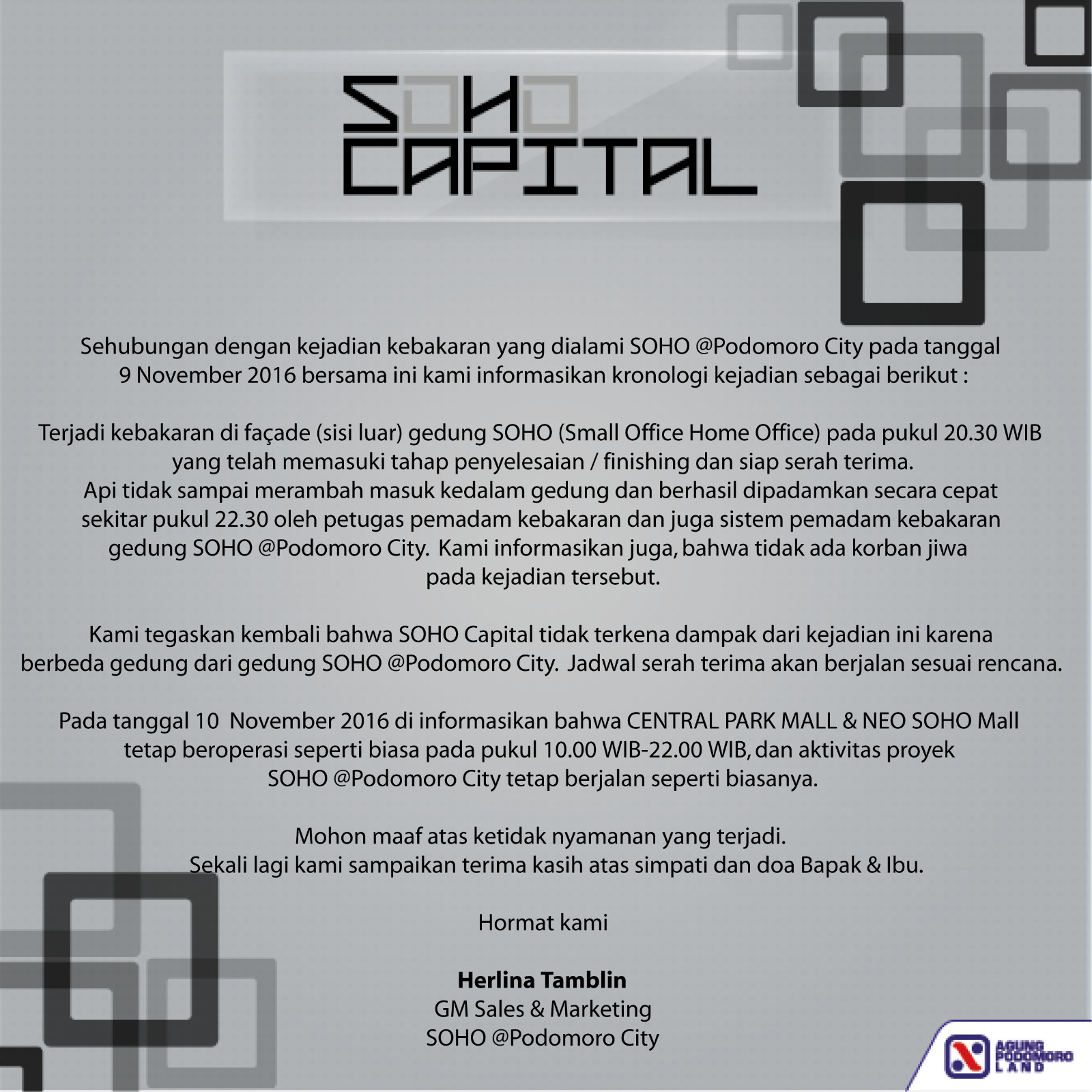 Official Statement – SOHO Capital