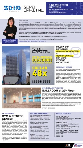 SOHO Podomoro City & SOHO Capital e-newsletter July-September 2018