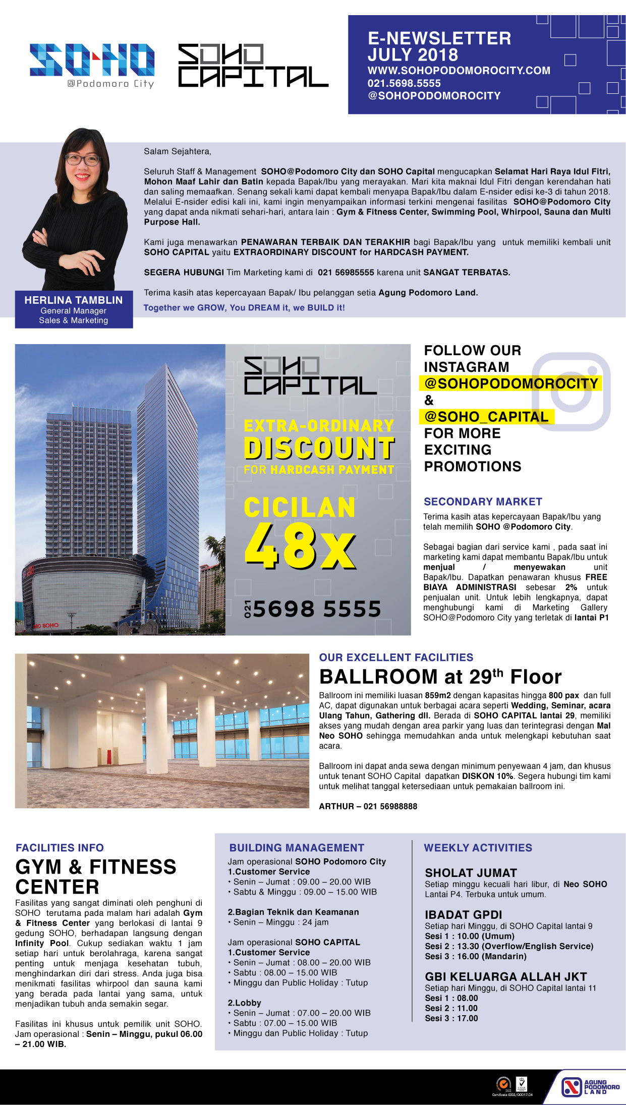 SOHO Podomoro City & SOHO Capital e-newsletter July-September 2018